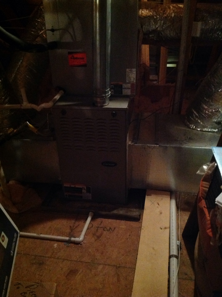 Oakland, TN - Heating tune up on Carrier furnaces.