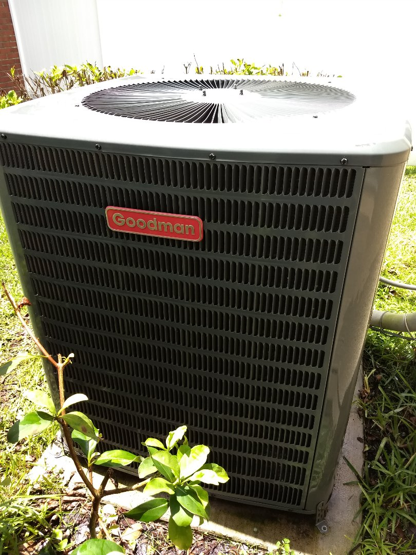 Wesley Chapel, FL - Residential maintenance and tune-up of Goodman A/C heat-pump system.