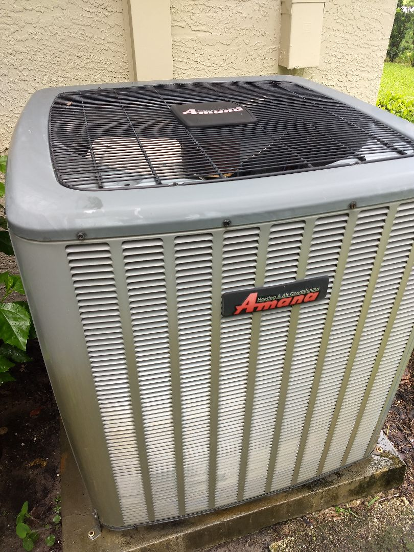 Odessa, FL - Residential tune-up and maintenance of Amana split system AC.