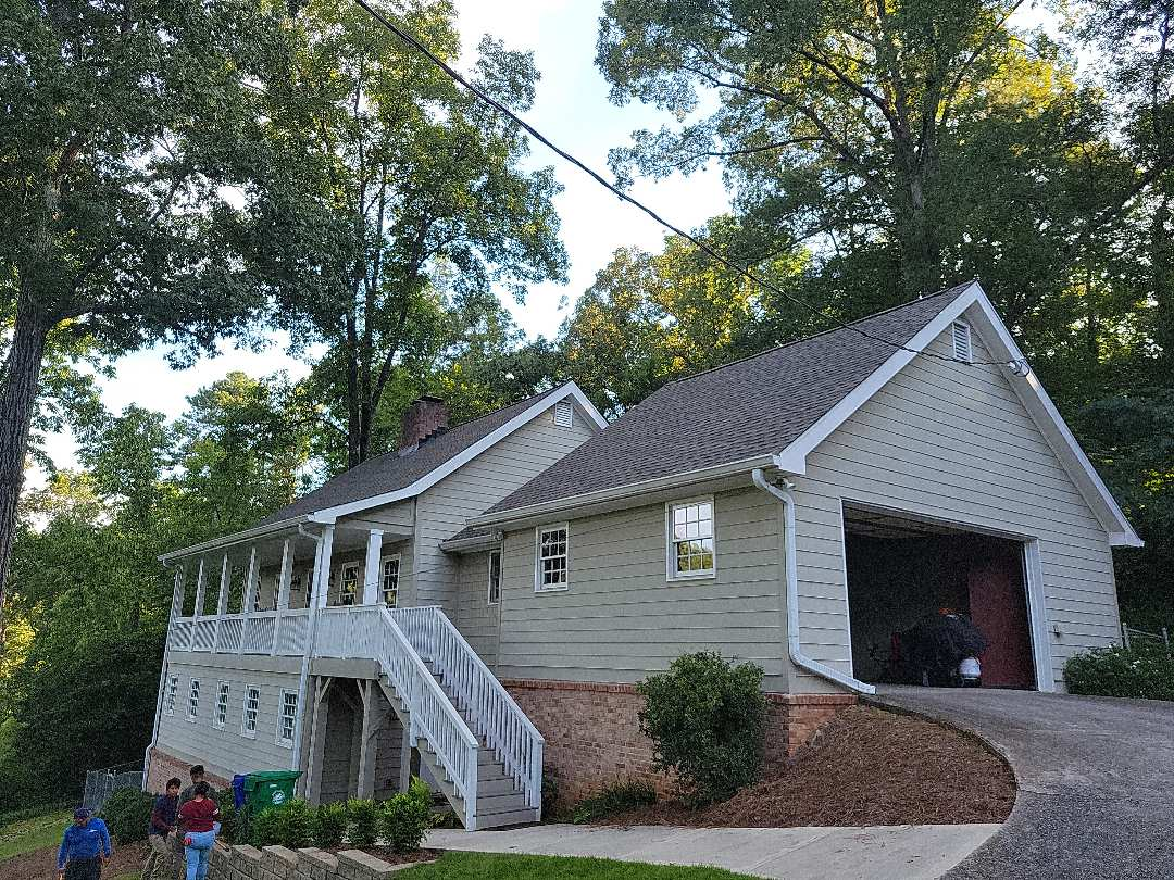 Atlanta, GA - Doing our final inspection of a recently completed GAF Timberline HDZ roof in Weathered Wood color.