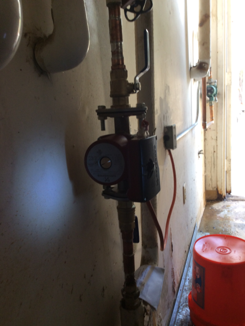 Jonesboro, GA - Installing (1) 3/4 Grundfos circulating pump in mechanical room for kitchen area. Installed two new shut off valves for line and wired up pump