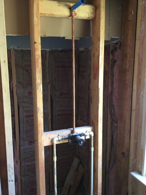 Carrollton, GA - Roughing in shower valve and shower drain for bathroom remodel