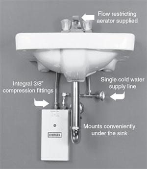 Kennesaw, GA - Installing (1) eemax insta hot water heater under break room sink