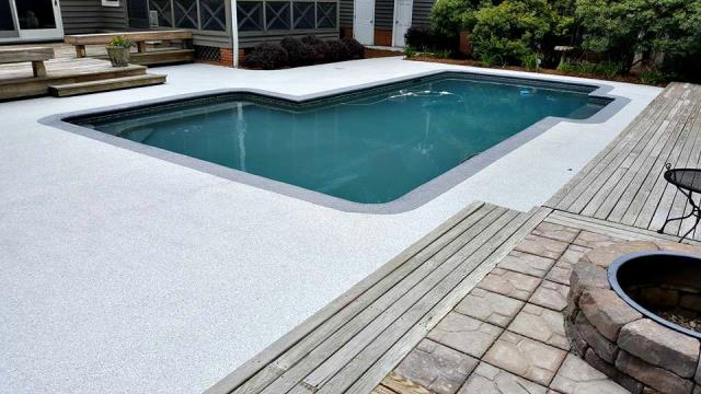 Johns Creek, GA - Wanting a pool deck coating that will survive the test of time with a unique design? Graniflex is the ultimate coating for you!