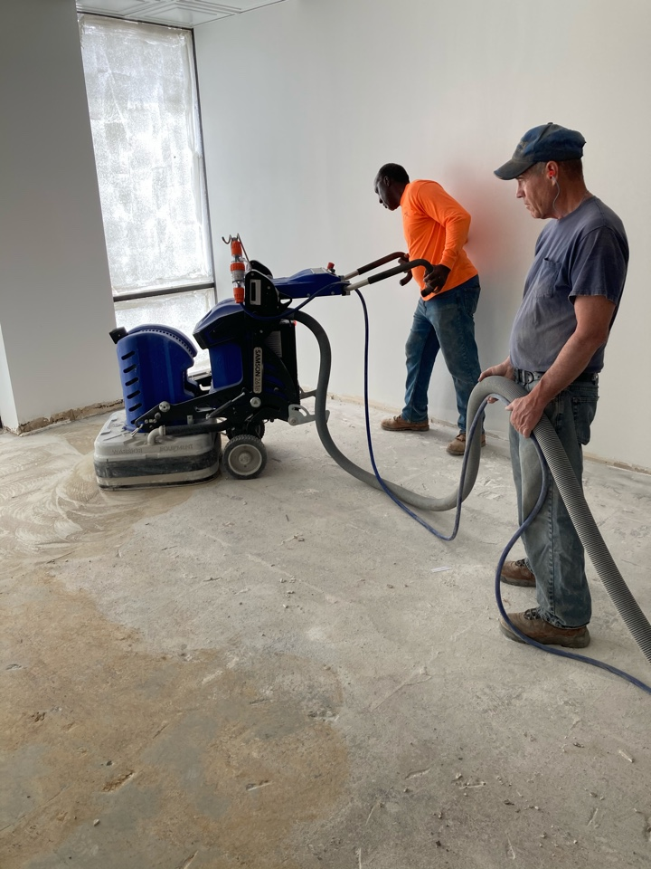 Atlanta, GA - We are prepping floors for a metallic marble epoxy coating.  There is a lot of LVT glue to get off of this one, but having the right equipment makes it easier. The Warrior Samson is getting it done!! Near Atlanta Georgia.