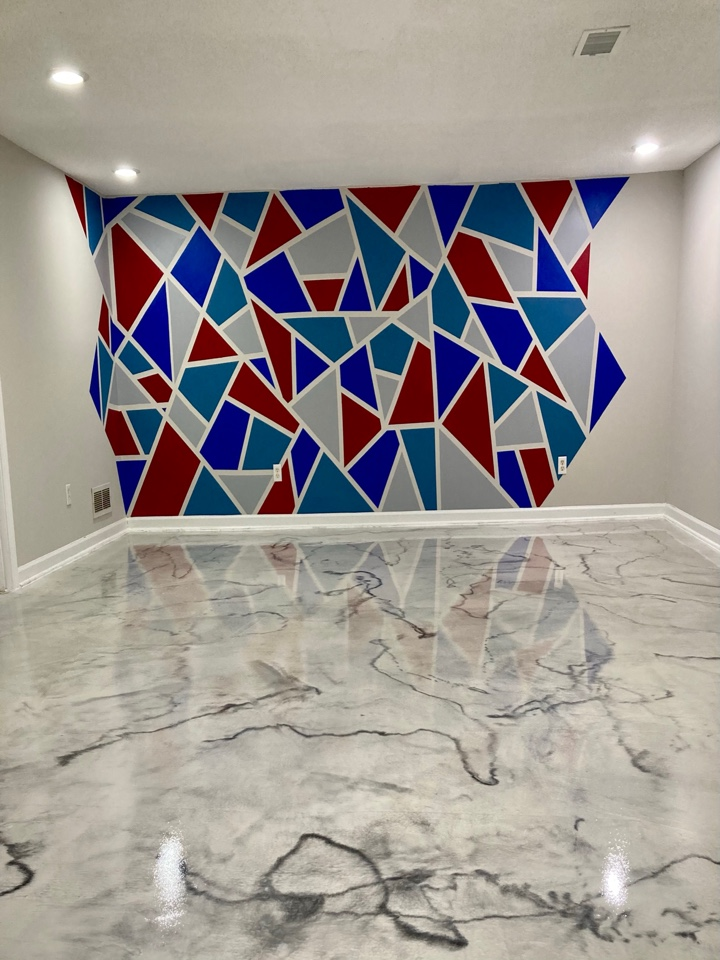 Duluth, GA - Our team just finished this Metallic marble epoxy floor! Near Duluth Georgia
