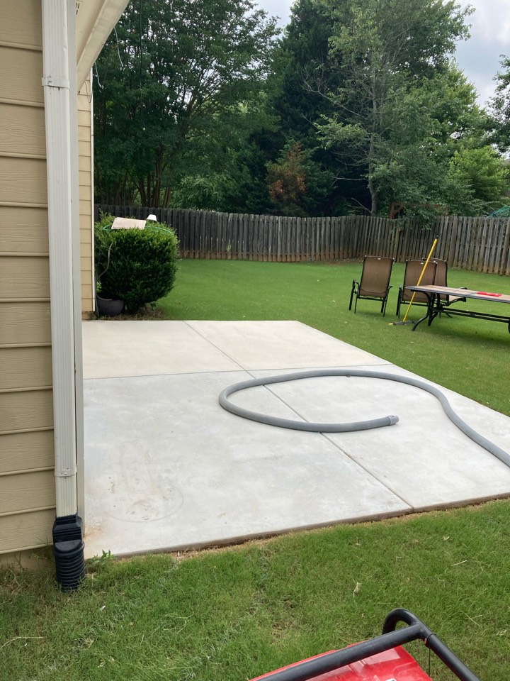 Roswell, GA - The team is prepping this concrete patio for our Graniflex flake system. Near Roswell Georgia.