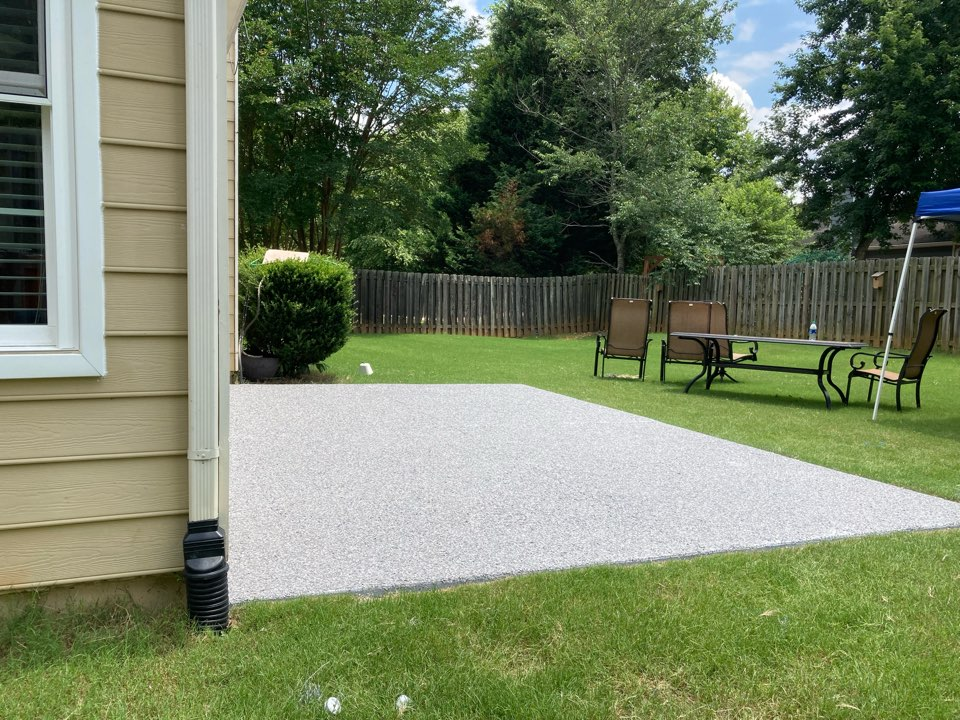 Roswell, GA - Flakes are down on this Graniflex flake concrete patio Ready to scrape and topcoat. Near Roswell Georgia