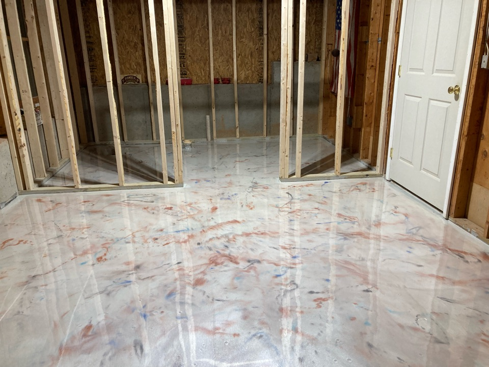 Woodstock, GA - 2d coat of metallic marble epoxy is on this basement floor.  Going to be fun to see how it settles out overnight and then topcoat tomorrow.