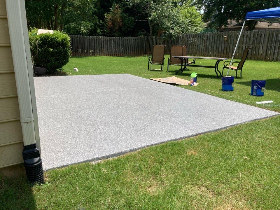 Roswell, GA - We just put the topcoat down on this Graniflex flake patio floor. Near Roswell Georgia