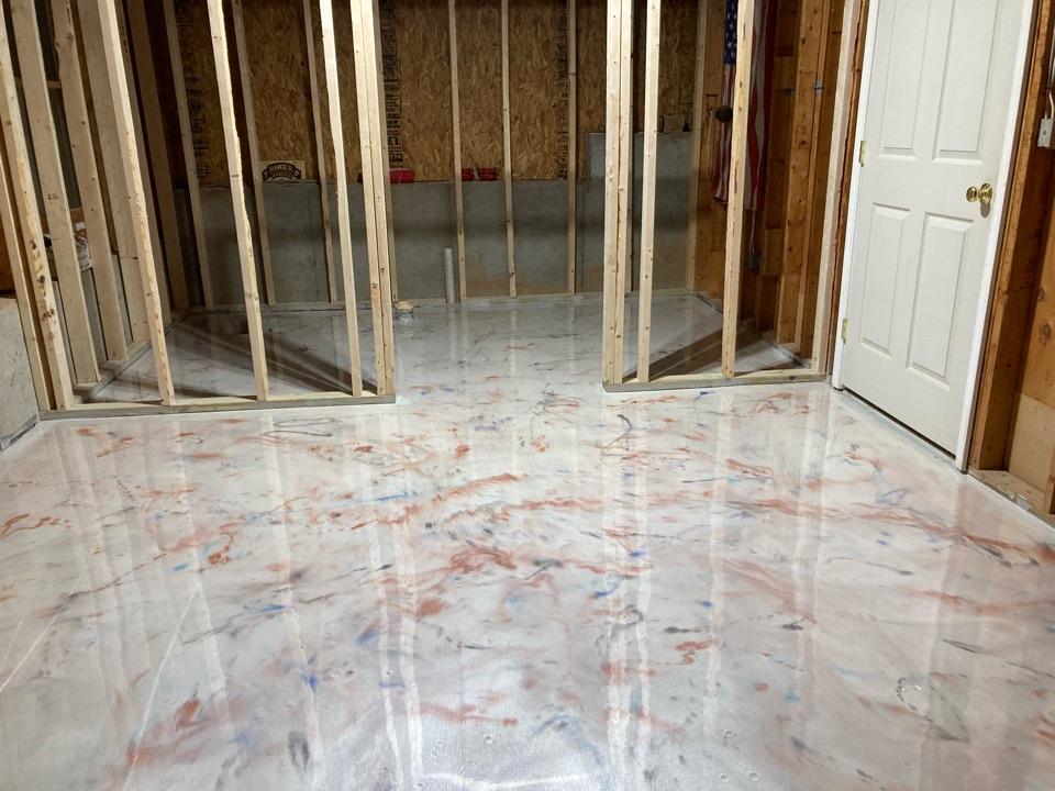 Alpharetta, GA - Getting ready to finish up this metallic marble epoxy basement floor. Near Alpharetta Georgia