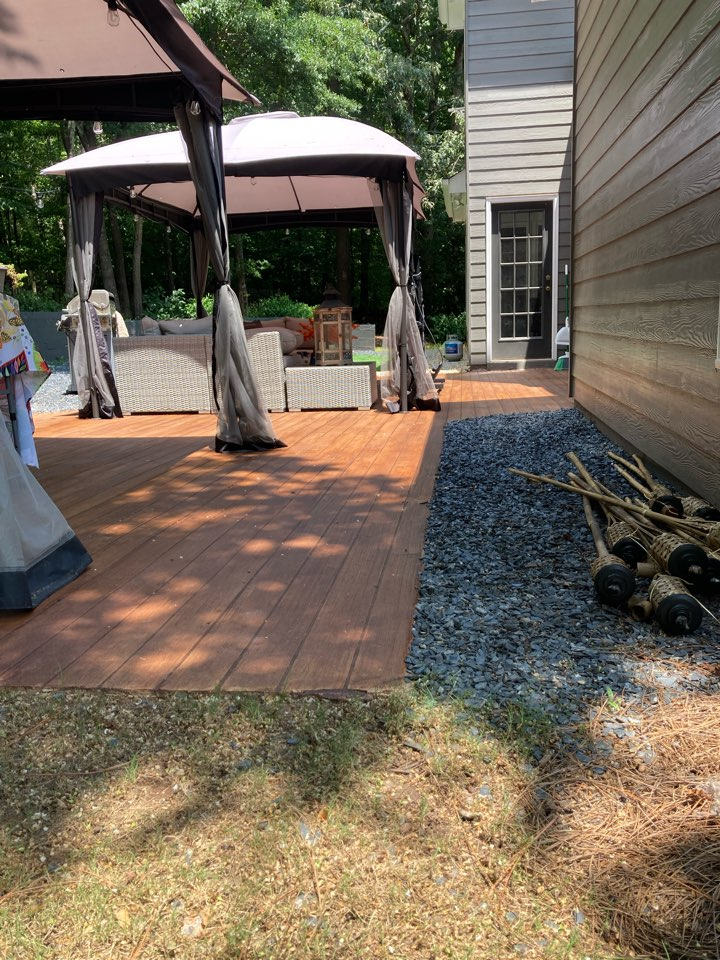 Duluth, GA - We are just putting the finishing touches on this rustic concrete wood patio. Near Duluth Georgia.