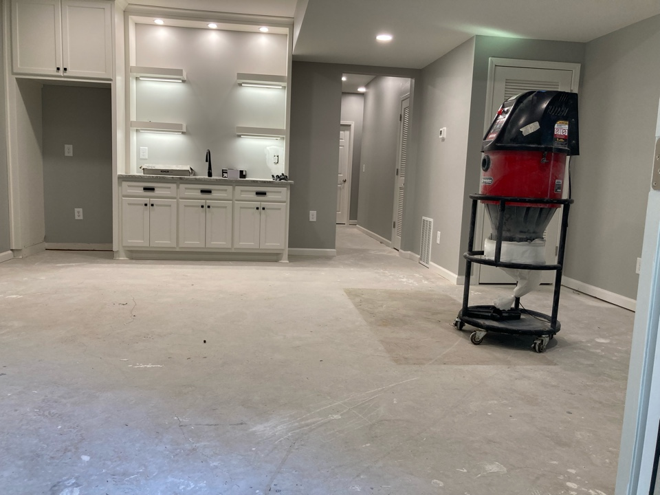 We are getting ready to prep the floors in this basement to install metallic marble epoxy.