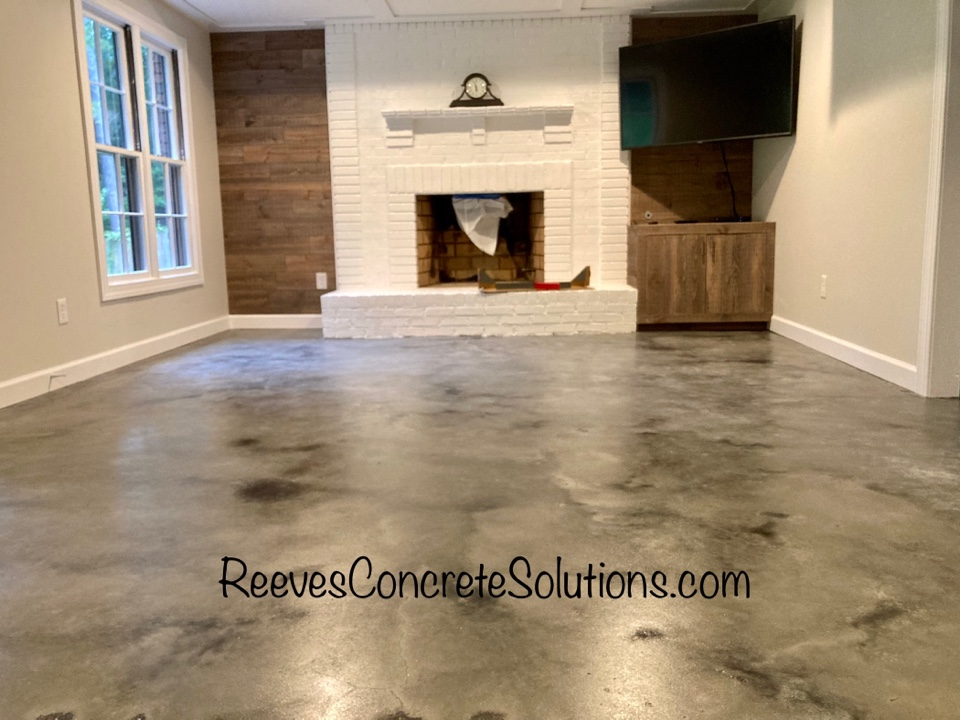 Roswell, GA - We are preparing to put the final coat of sealer on this stained concrete basement floor