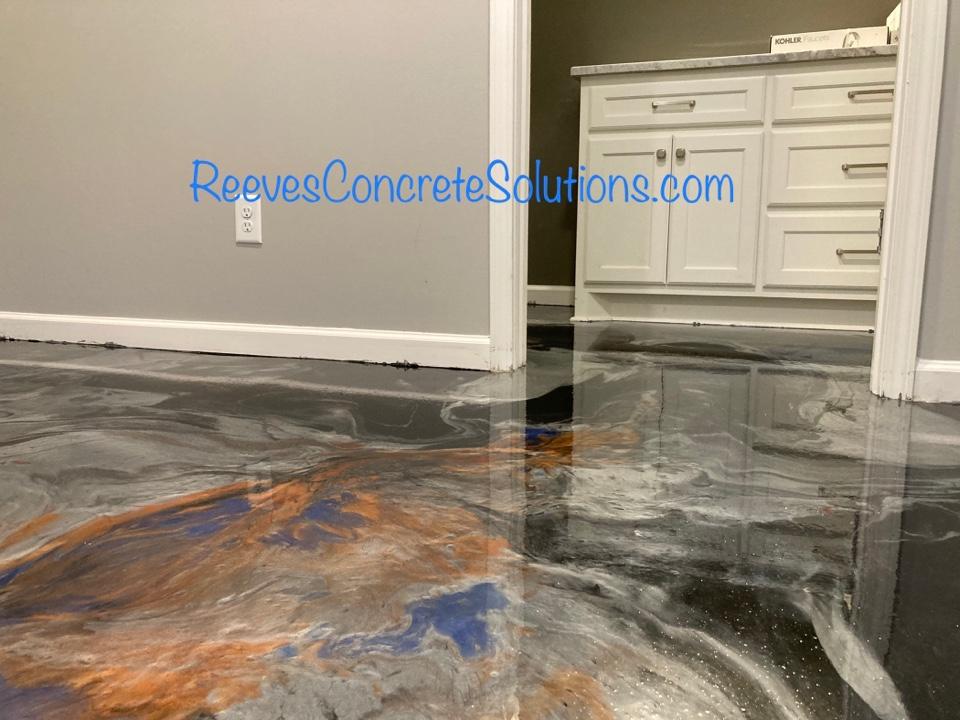 Metallic marble epoxy basement floor ready for topcoat