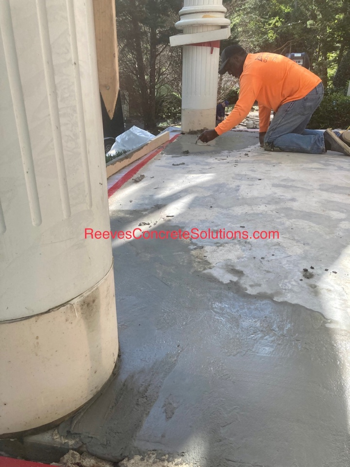 Finishing up some concrete repairs as we prepare to resurface this front stoop with Graniflex Quartz