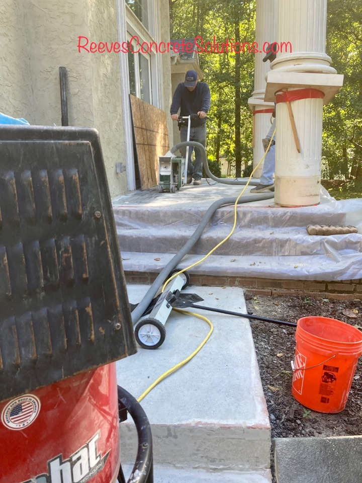 Attention to detail during the prep phase and only using superior products insures our concrete coatings are going to last a long time.  This front stoop will be ground, shot blast and edged before the first coating is applied.