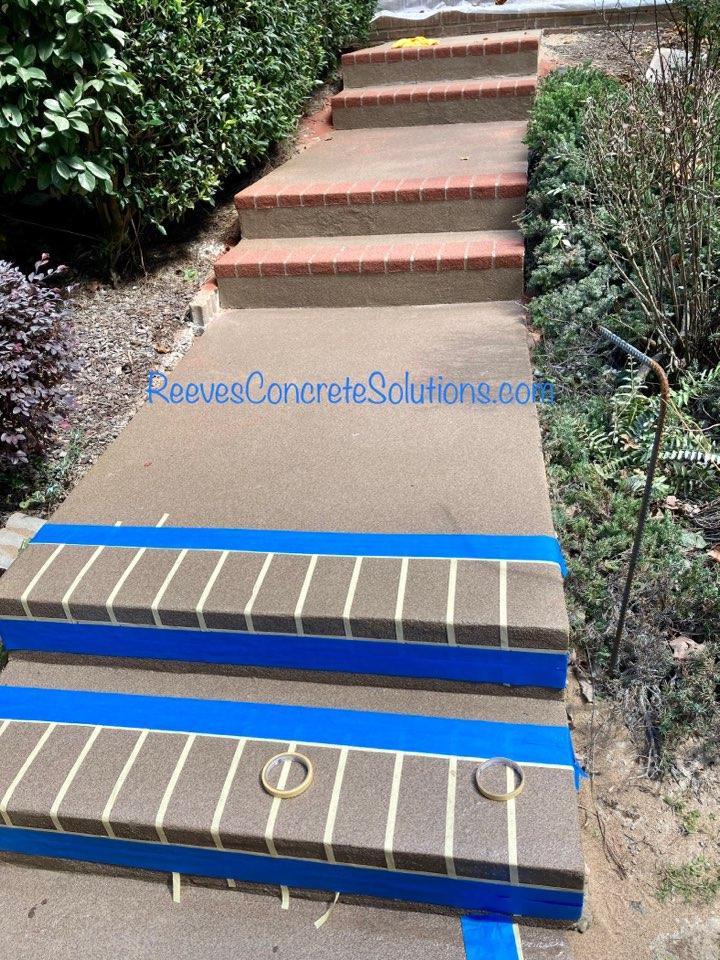 Alpharetta, GA - Adding brick borders to this quartz sidewalk concrete resurfacing overlay