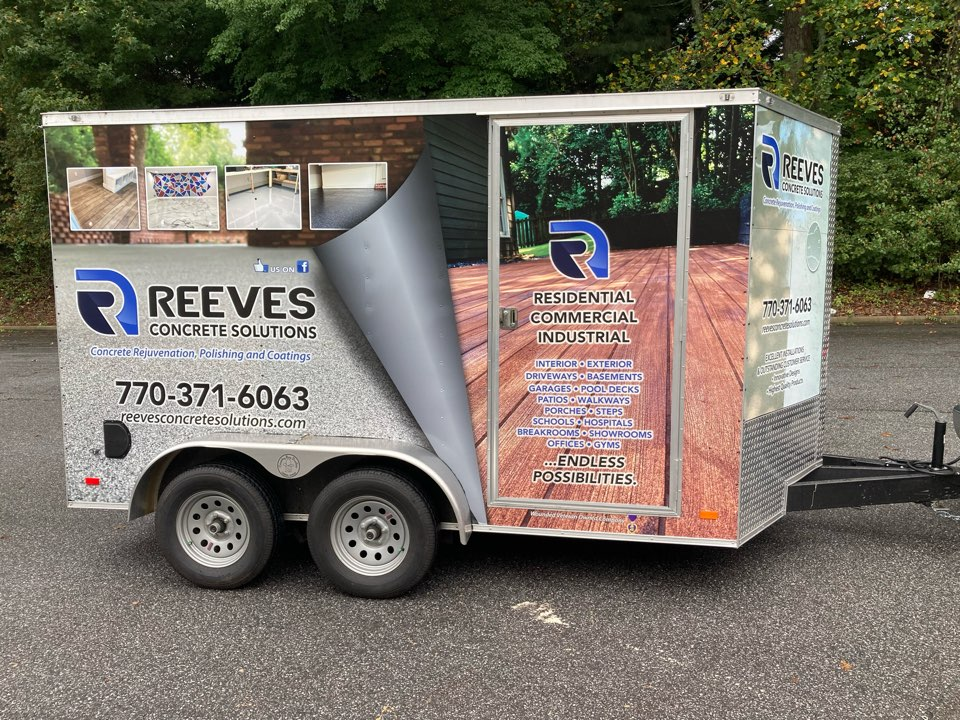 Roswell, GA - Got the trailer wrapped.  Thanks to Caron at The Concrete Protector for the design and Jim at Alpha Sign Group for the installation.  Wave if you see us on the road and give us a call for your concrete coating needs such as metallic marble, epoxy floors, polished concrete, rustic concrete wood, stained concrete.