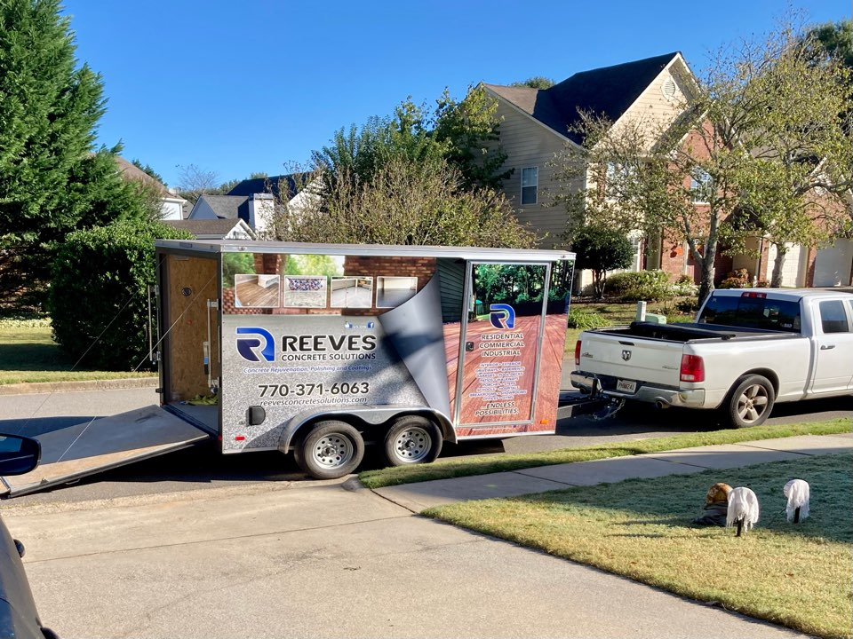 Roswell, GA - Trailer is unloaded and we are ready to begin another epoxy flake garage floor using the Graniflex system on this beautiful fall day