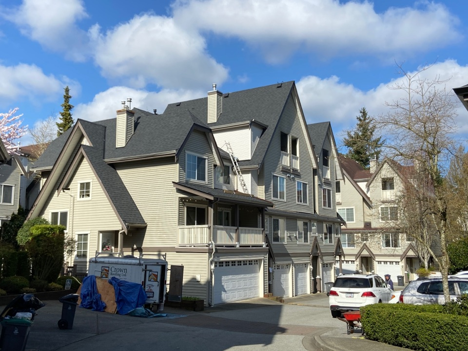 Surrey, BC - Strata roofing and gutter replacement project in South Surrey, BC. Metro Vancouver's best roofer - Crown Roofing Ltd. Call Crown Roofing 604 370-6288, for all your residential roofing projects. www.crownroofingltd.com