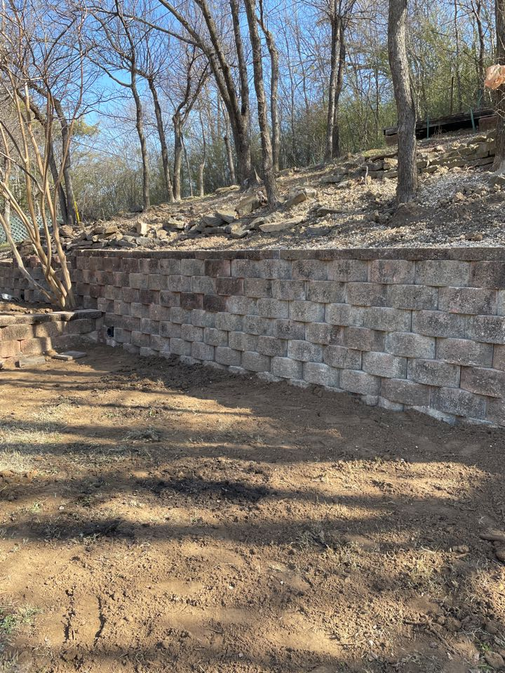Retaining wall re installation, drainage installation. New fire pit