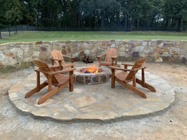 Custom Stone Fire Pit and Patio