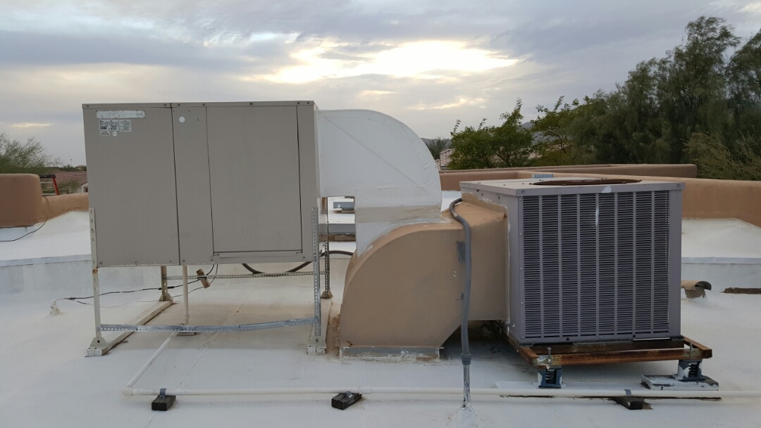 Peoria, AZ - Proposal for new rooftop package heat pump and removal of evaporative cooler (evap cooler).