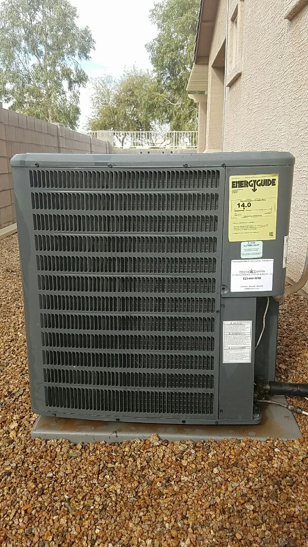 Goodyear, AZ - Seasonal Cooling maintenance on Goodman Gas Electric Split System. Grand Canyon AC Care Club Member!