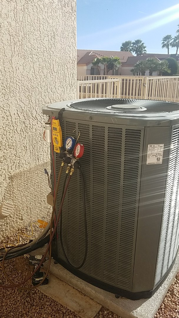 Sun City West, AZ - Seasonal Cooling maintenance on Trsne Split Gas Electric system for new Grand Canyon Home Services Care Club Client.