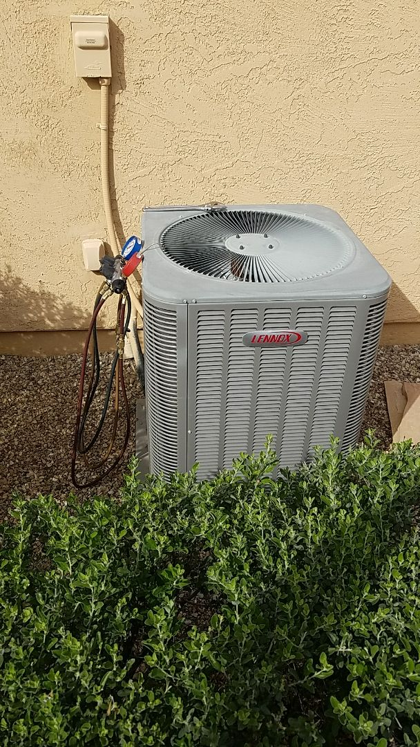 Buckeye, AZ - Seasonal Cooling maintenance on Lennox Split Gas Electric system for Grand Canyon Home Services (Air Conditioning, Heating, Plumbing, & Electical) Care Club Member.