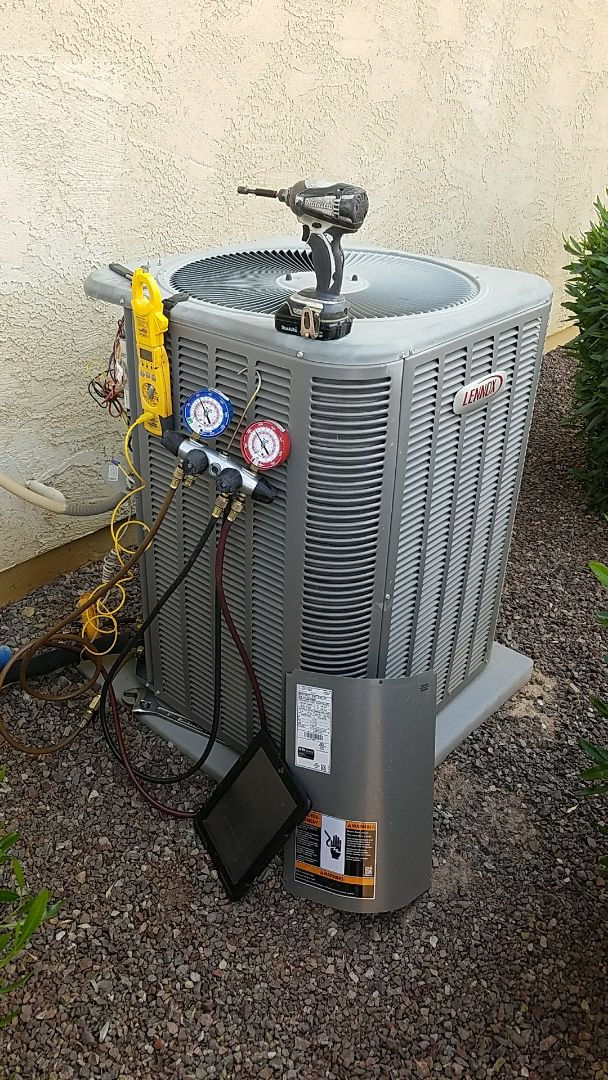 Buckeye, AZ - Seasonal Cooling Maintenance on Lennox Split Gas Electric System for Grand Canyon Home Services Care Club Member.