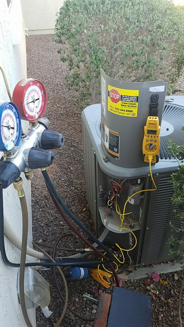 Buckeye, AZ - Seasonal Cooling maintenance on Lennox split gas electric system and water heater flush for Grand Canyon Home Services Care Club Member.