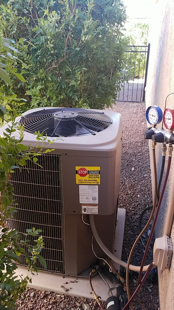 Buckeye, AZ - Seasonal Cooling Maintenance on York split gas electric system for Grand Canyon Home Services Care Club Member!!