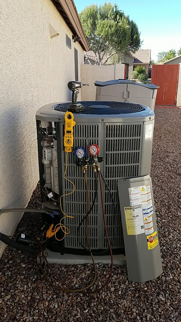Surprise, AZ - Seasonal Cooling maintenance on American Standard Platinum 18 Variable Speed Cooling split gas electric system.for Grand Canyon Home Services Care Club Member.