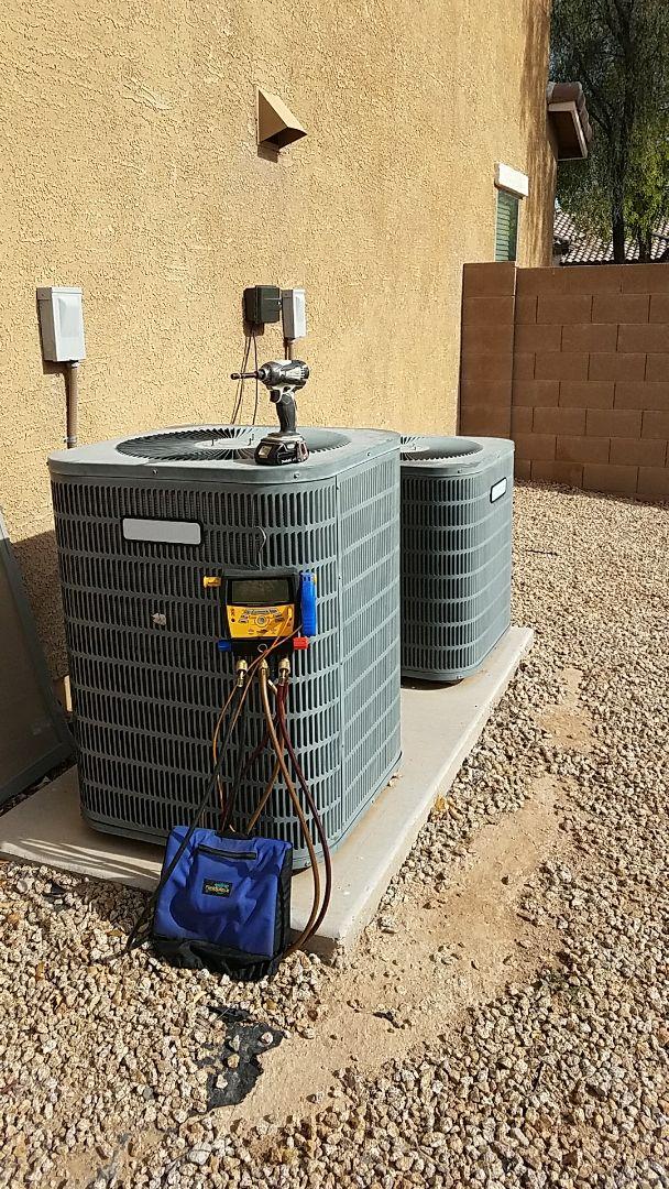 Surprise, AZ - Triple Play maintenance on two Goodman Split Gas Electric systems.