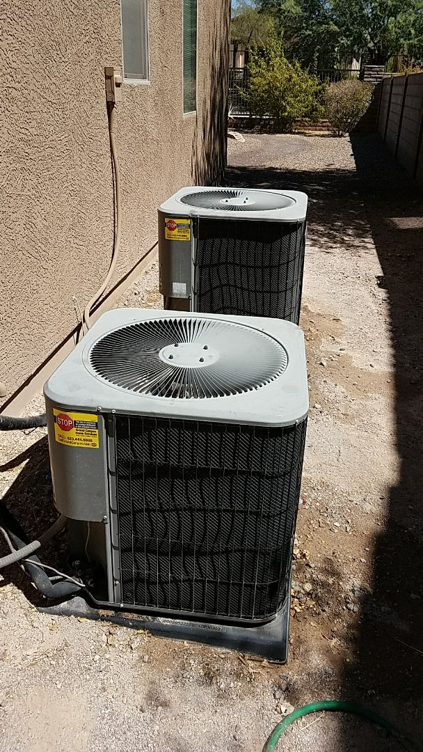 Peoria, AZ - Seasonal cooling maintenance on to Lennox gas electric split AC systems for return Grand Canyon Home Services client
