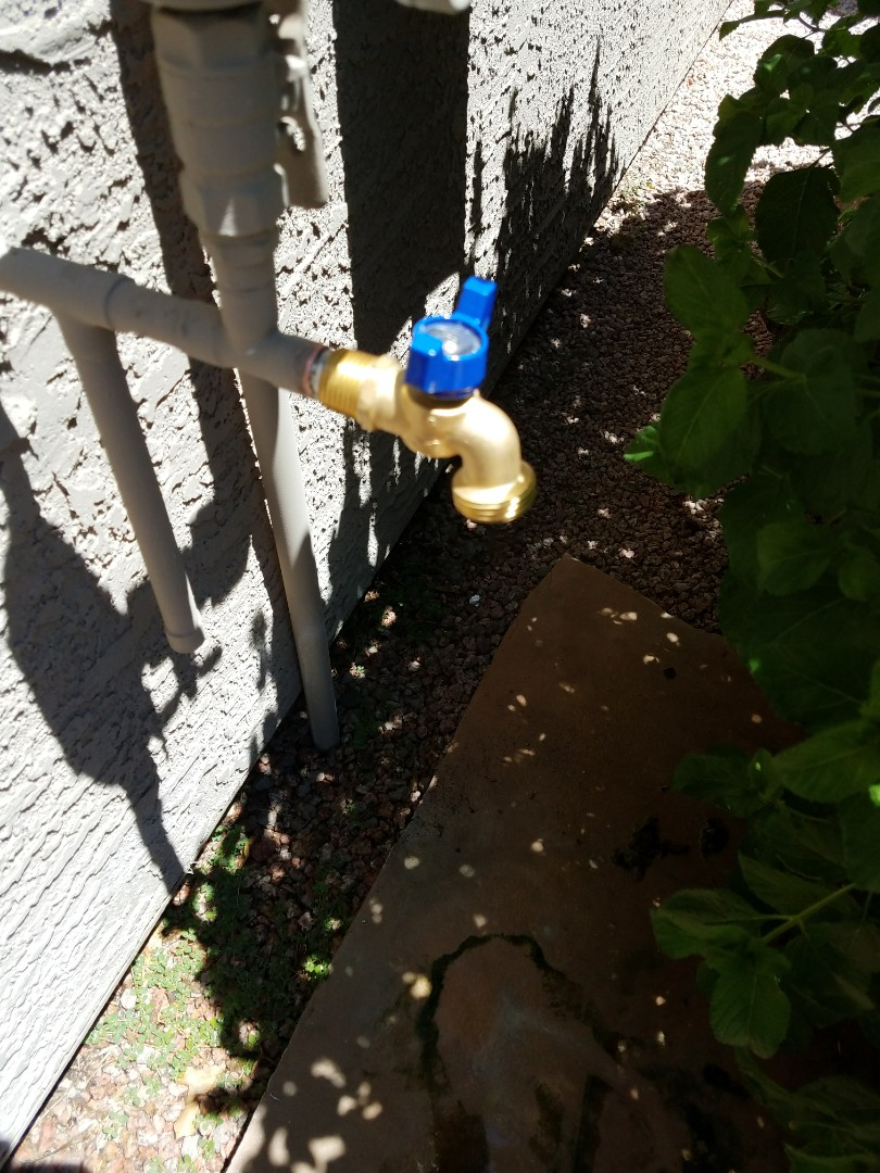 Goodyear, AZ - Removed and replaced leaking hose bibb for repeat Grand Canyon Home Services client.