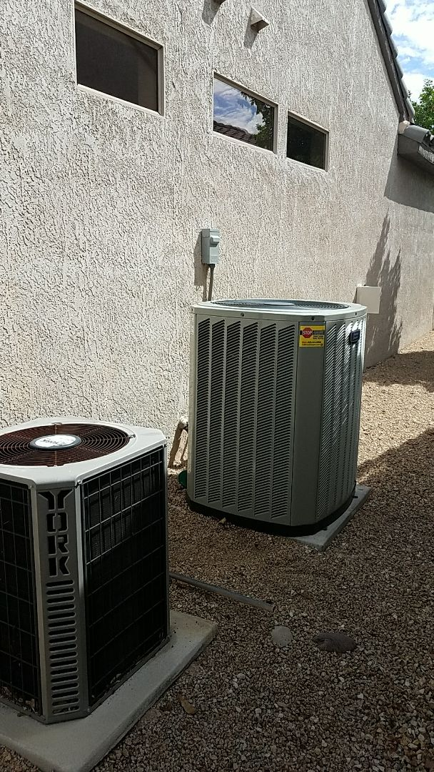 Surprise, AZ - Seasonal cooling maintenance on 2 gas split air conditioning systems for Grand Canyon Home Services Care Club Member
