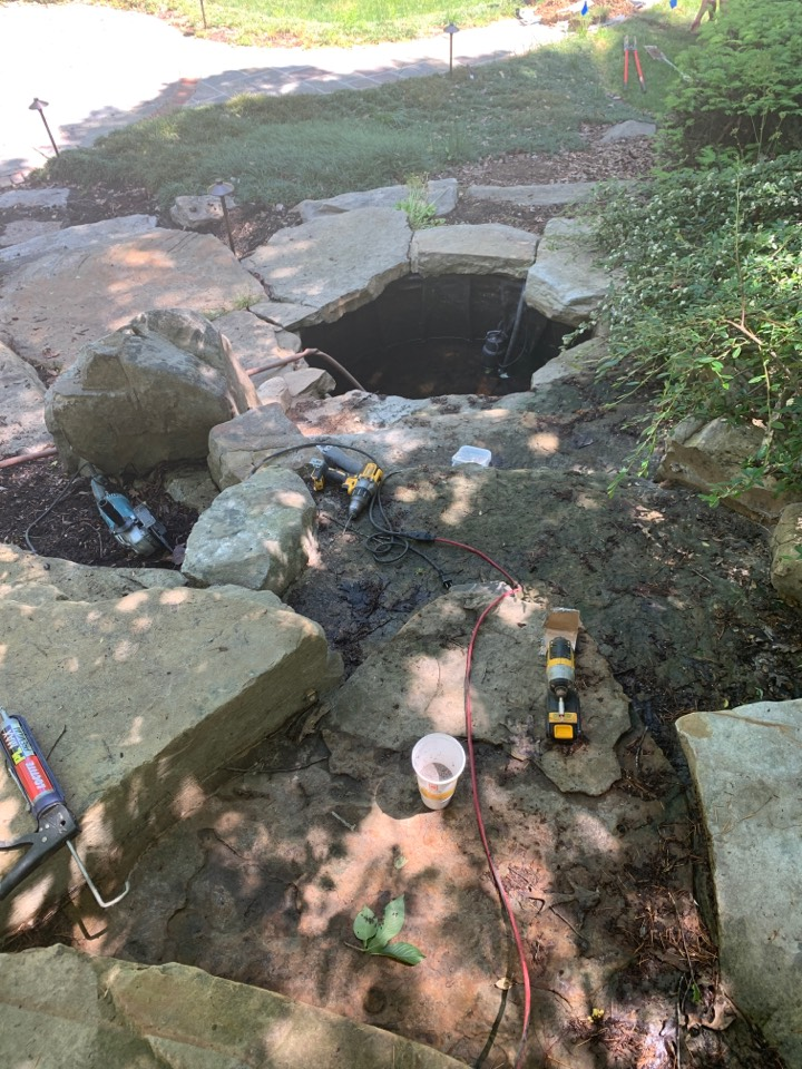 Cary, NC - Installing lights on waterfall, up lights, underwater lights and path lighting