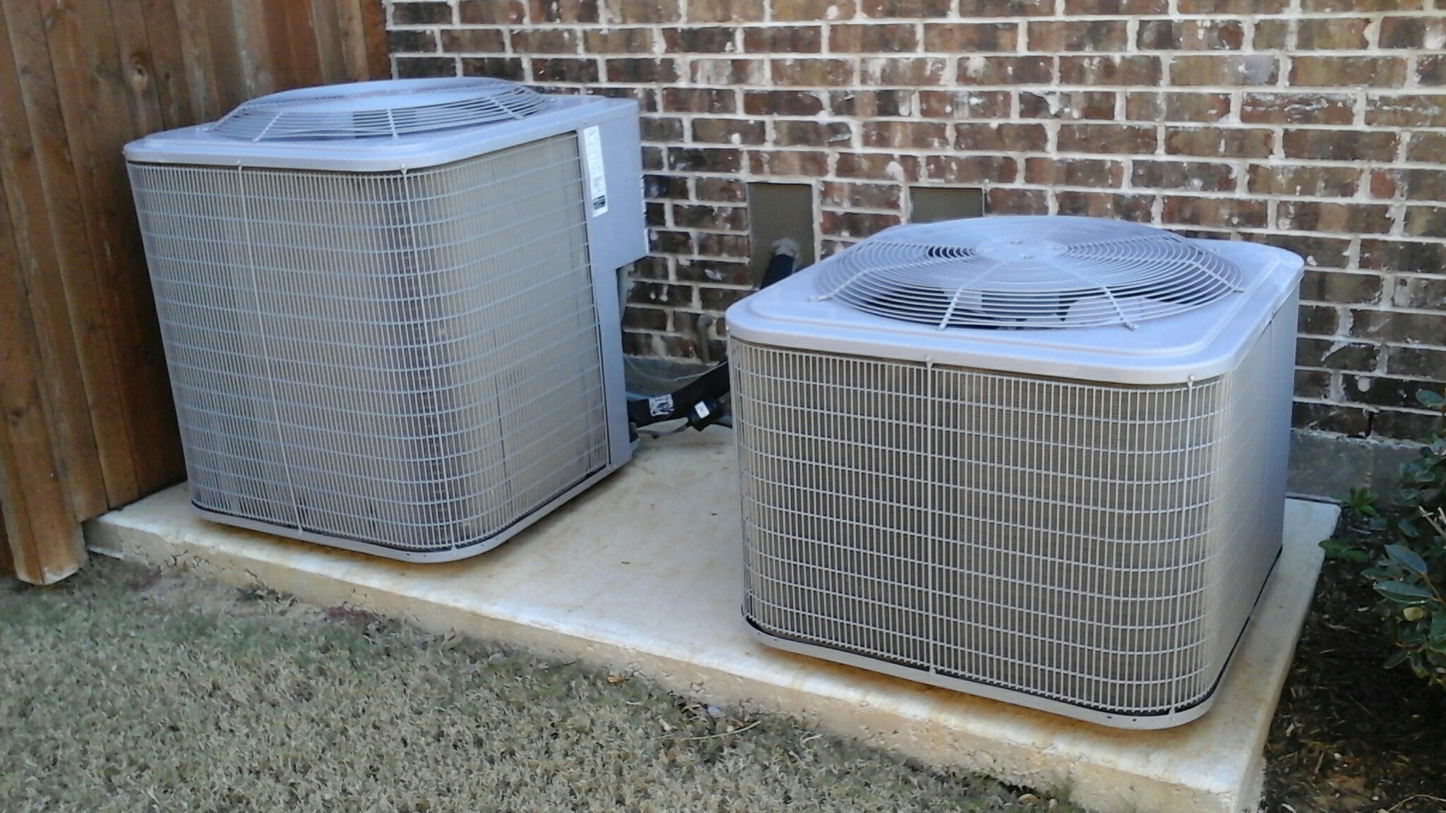 Argyle, TX - Performed maintenance on two Carrier air conditioners and heaters. Replaced two media filters.
