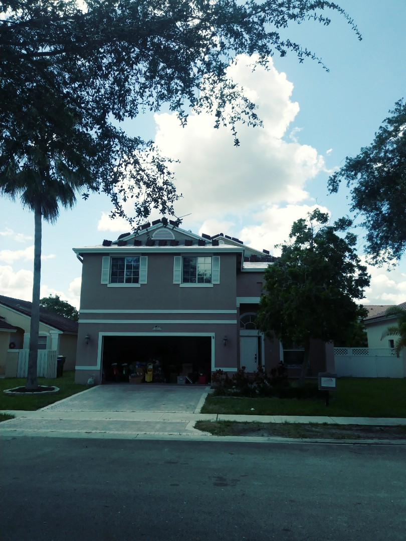 Pembroke Pines, FL - Beautiful eagle concrete roof tile loaded on roof ready to be installed by earl w Johnston roofing llc