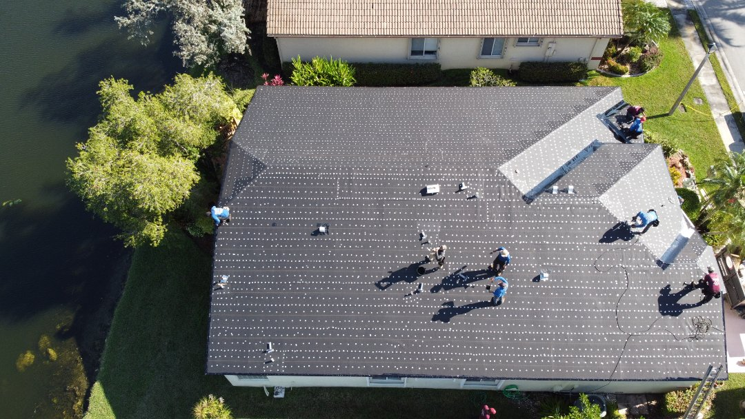 Tamarac, FL - Tile reroof is dried in and ready for tin cap inspection in Tamarac, Fl by Mike Wilde of Earl Johnston Roofing