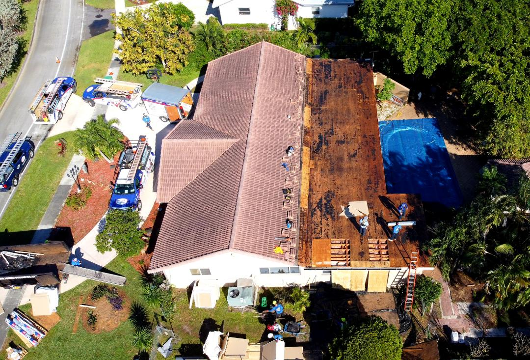 Plantation, FL - GAF Everguard TPO flat reroof is starting today in Plantation,FL by Earl Johnston Roofing