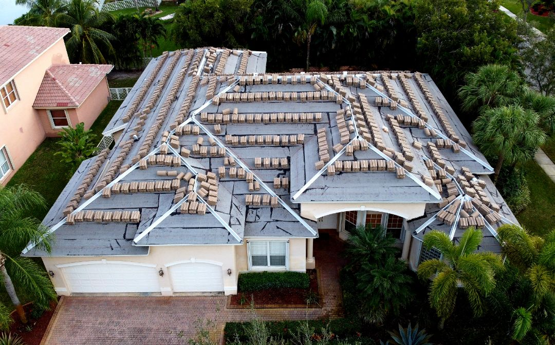 Miramar, FL - Boral Estate Coconut White Antique Tile roof is loaded and ready for installation in Miramar, FL