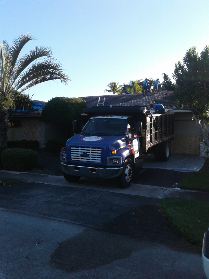 Miami, FL - Starting a 46sq tile reroof in Miami, by Earl w Johnston roofing.