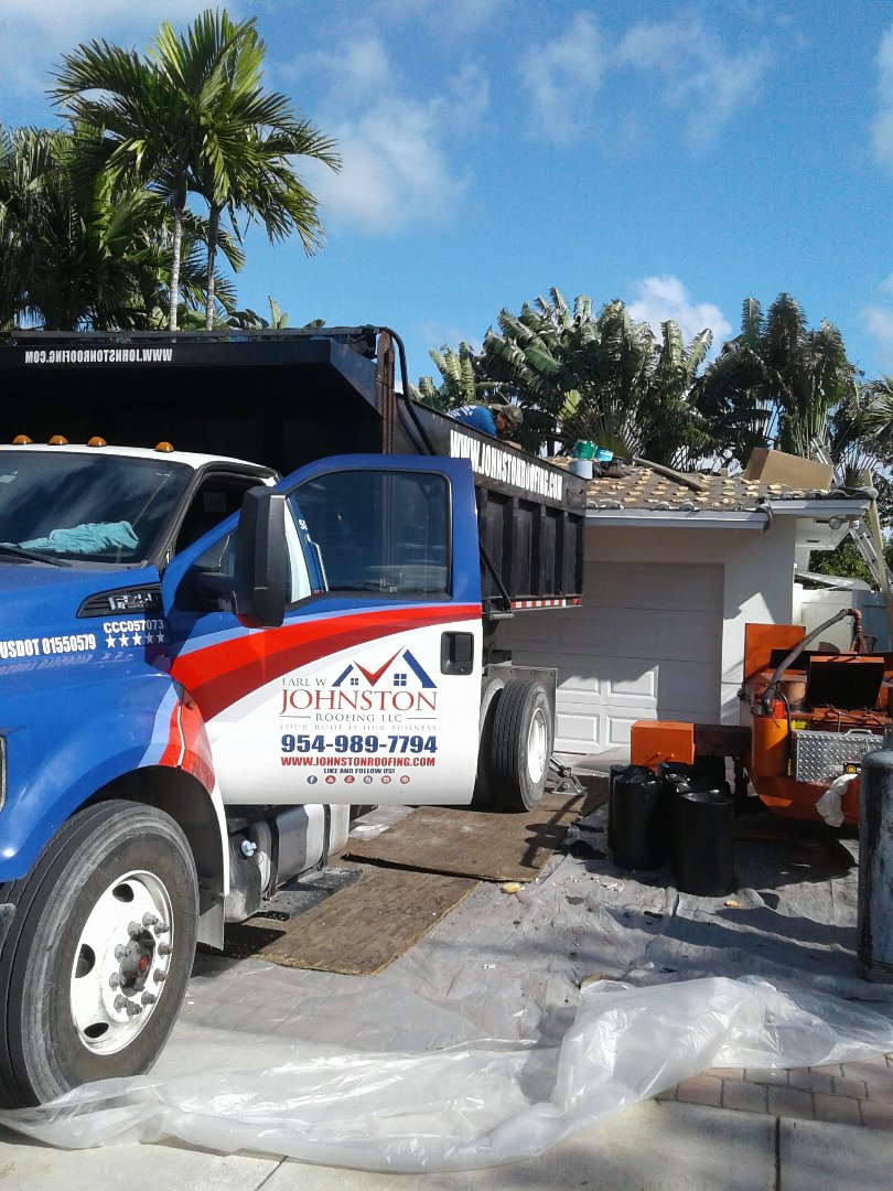 North Miami Beach, FL - Starting a 36sq tile reroof in Miami, by Earl w Johnston roofing.