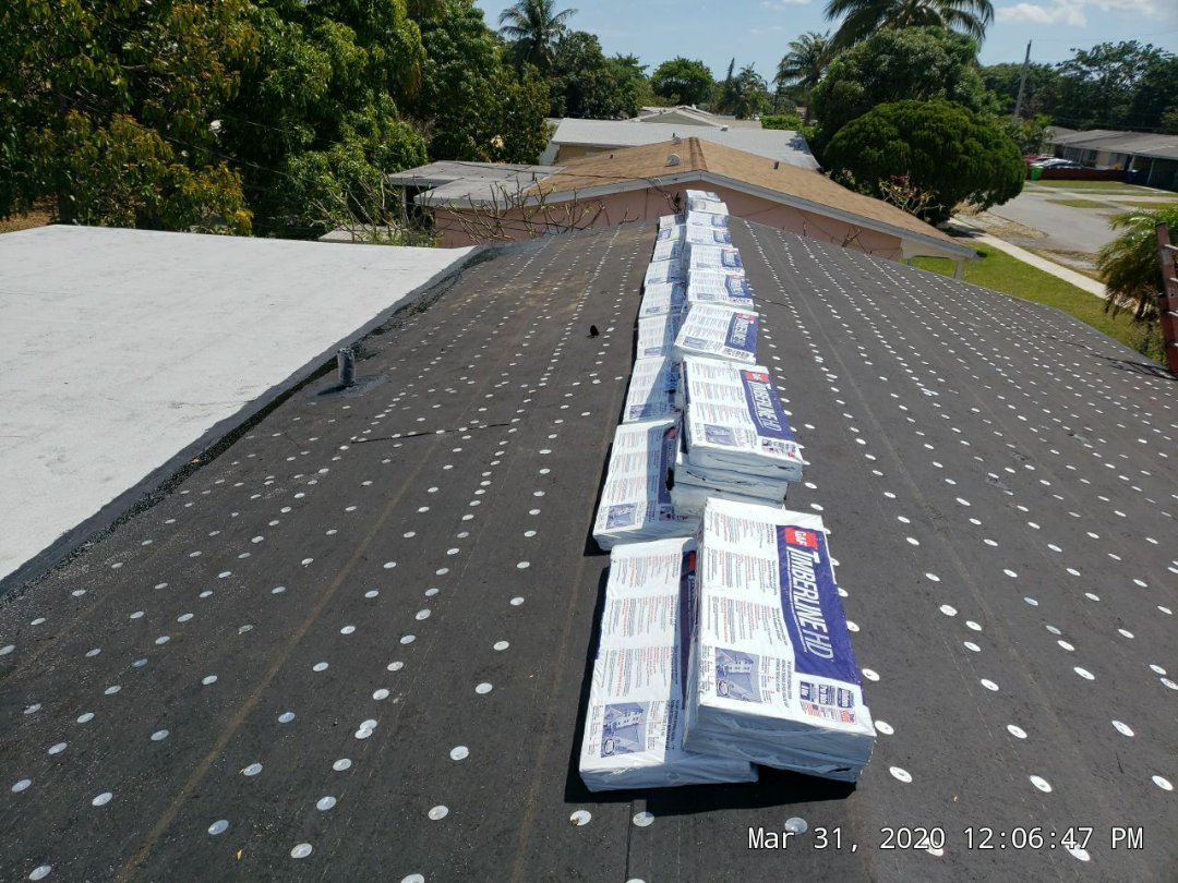 Sunrise, FL - Gaf Timberline hd shingle re-roof is loaded and ready for the shingle installation in Sunrise, FL