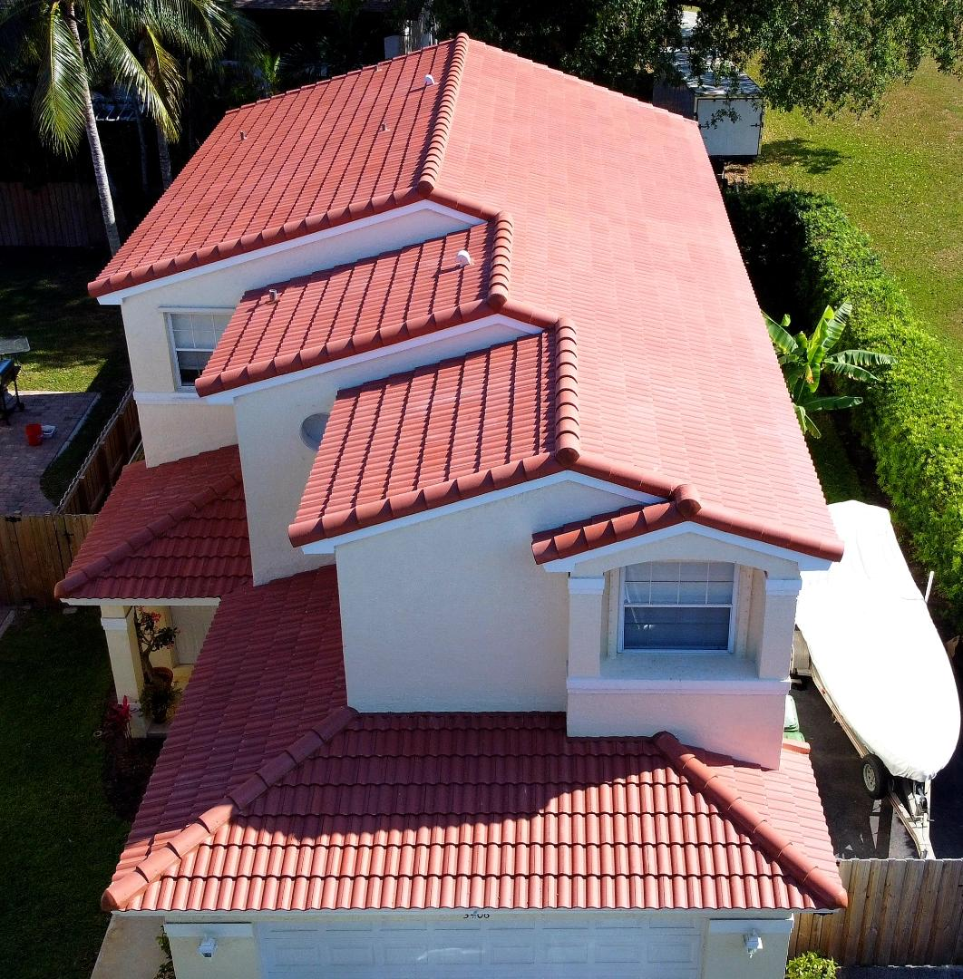 Hollywood, FL - Eagle Malibu tile re-roof is completed in Hollywood,FL by Mike Wilde of Earl Johnston Roofing