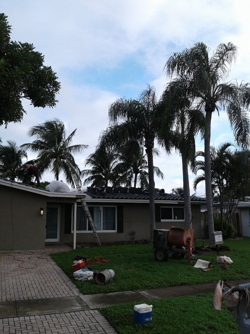 Pompano Beach, FL - Installing pitch pans in Pompano Beach by Duane and Israel from Earl W Johnston Roofing